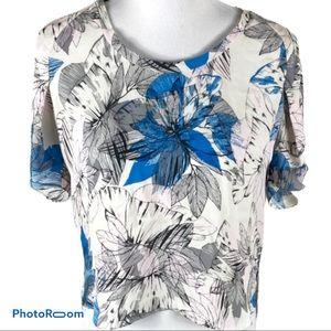 Rebecca Taylor 100% silk floral blouse blue sz 2